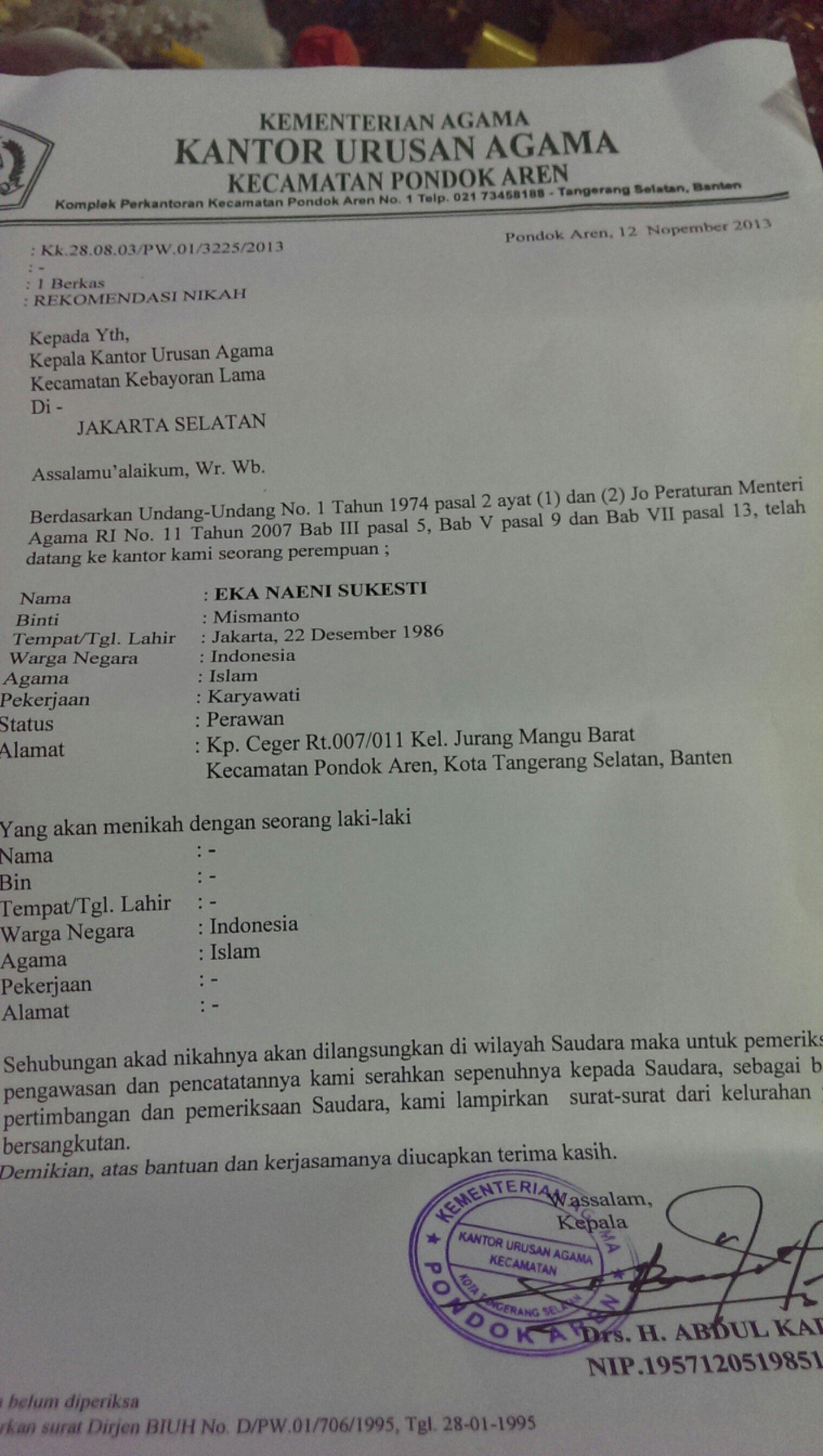 Contoh Surat Numpang Nikah Dari Kua Surat 35